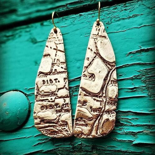 Antique Map Earrings