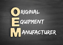Wooden alphabets building the word OEM -