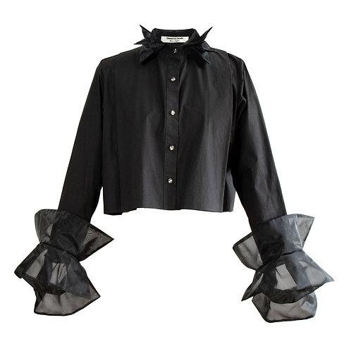 Black organza blooming shirt