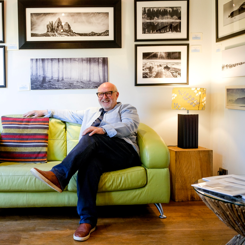 Mike relaxes in his photographic studio