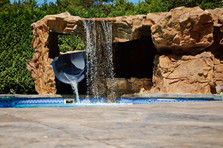 Custom Grotto w/ Built In Pre Fabricated Slide