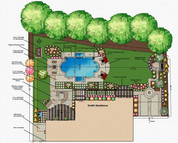2D Softscape and Hardscape Outdoor Living Plan