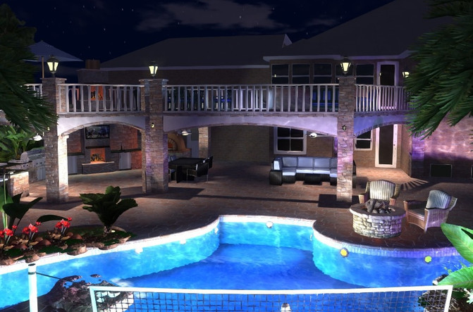 GreenExterior Design 3D Design Example w/ Lighting Package