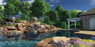 GreenExterior Design 3D Water Feature Concept w/ Enhanced Water Feature Tiers