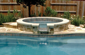 Circular Fiberglass Pool w/ Spillover