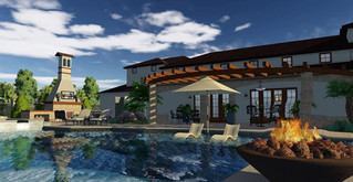 GreenExterior Design Outdoor Living Space Concept w/ Featured Fireplace
