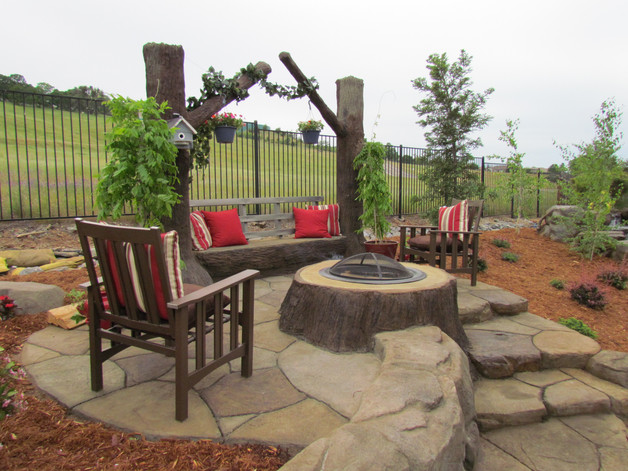 Irregular Custom Etched Concrete Patio w/ ClifRock Stump Fire Pit