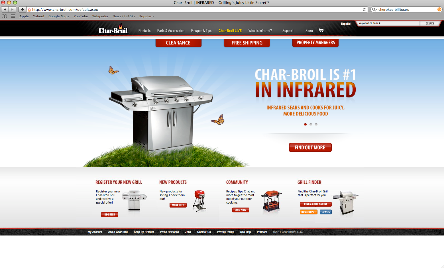 Char-Broil's Infrared Message on their Homepage