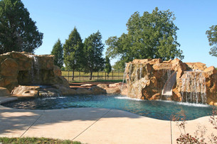 Duel Water Feature Towers w/ Grotto, Slide and Built In Animated Pool Lighting