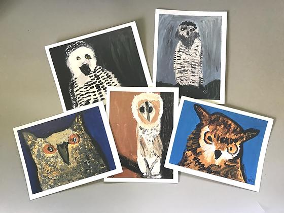 JB 5 Owls Notecards