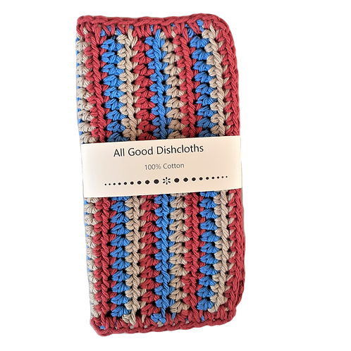 All Good Dishcloth - Striped Country Red/Jute/Blueberry