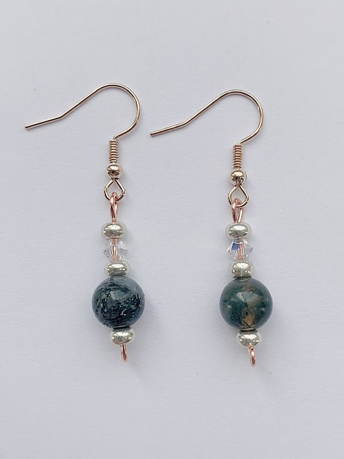 Deep Green and Copper Earrings