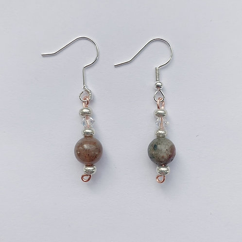Earth Dangling Earrings with Swarovski Crystals