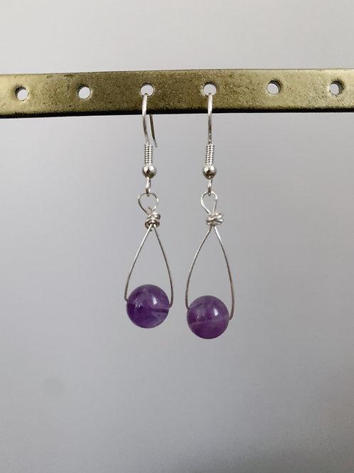 Purple Long Dangling Earrings