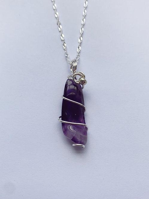 Deep Purple Long Tumbled Amethyst Pendant