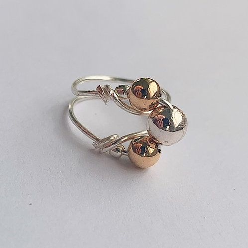 Bicolor Beaded Pinky Ring