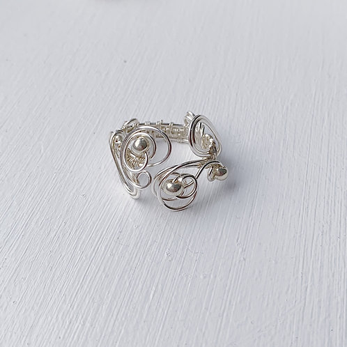 Silver Beaded Adjustable Ring