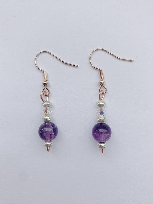 Purple Beads and Swarovski Crystal Copper Earrings