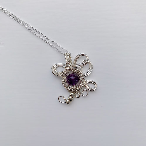 Purple and Silver Beaded Charm