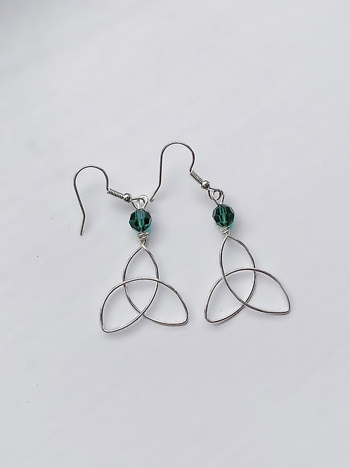 Medium Silver and Green Triquetra Earrings