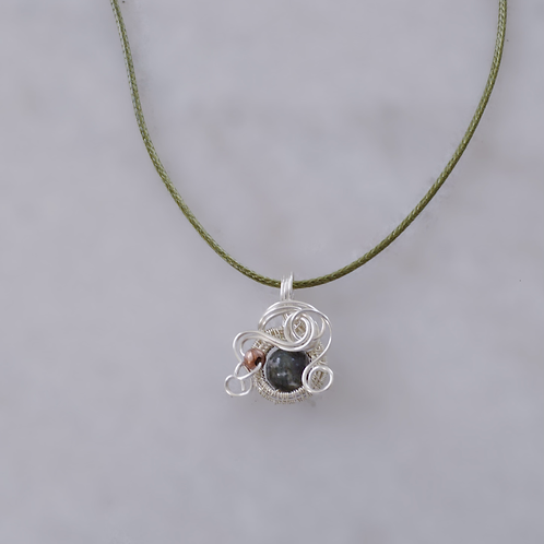 Silver and Green Charm with Copper