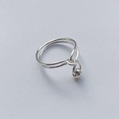 Silver Ring with a Lone Bead