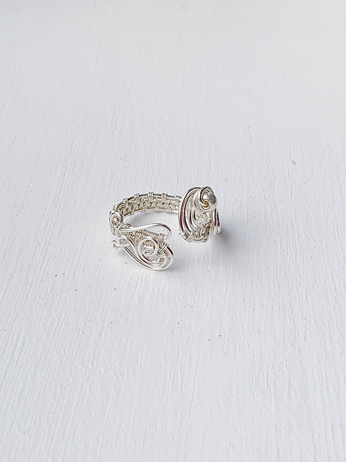 Adjustable Love Ring in Silver