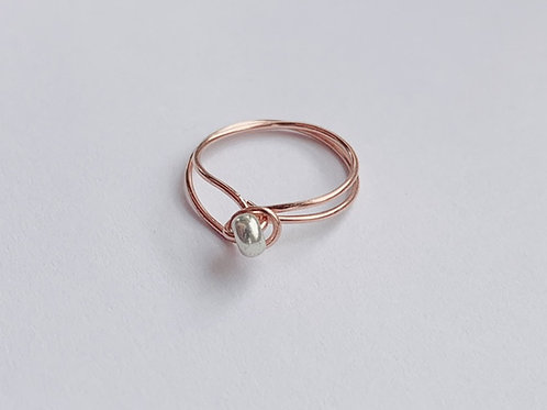 Dainty Copper and Silver Ring