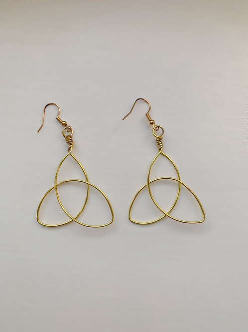 Large Gold Triquetra Earrings