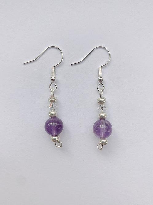 Purple Beads and Swarovski Crystal Earrings