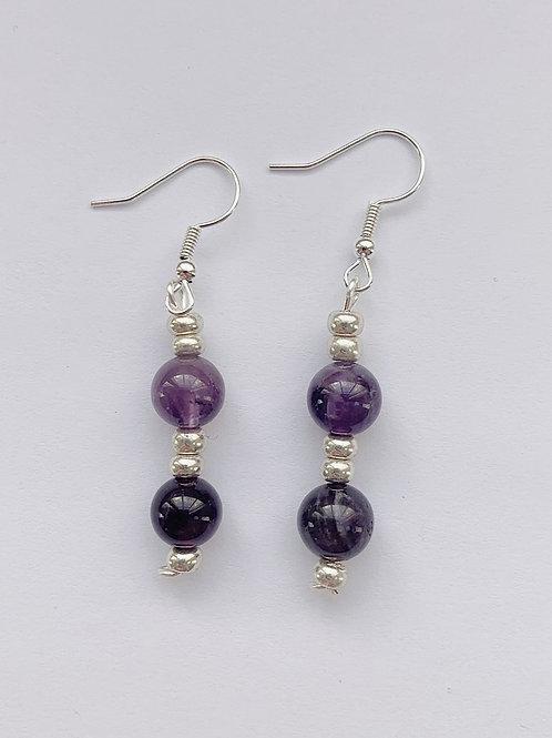 Double Beaded Dangling Purple Earrings