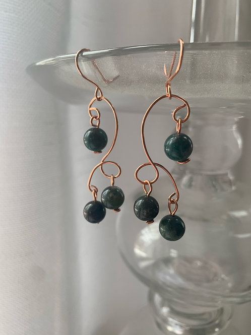 Multi-Tiered Bronze and Green Dangles