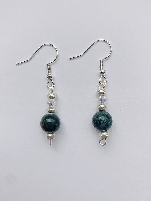 Deep Green and Silver Earrings