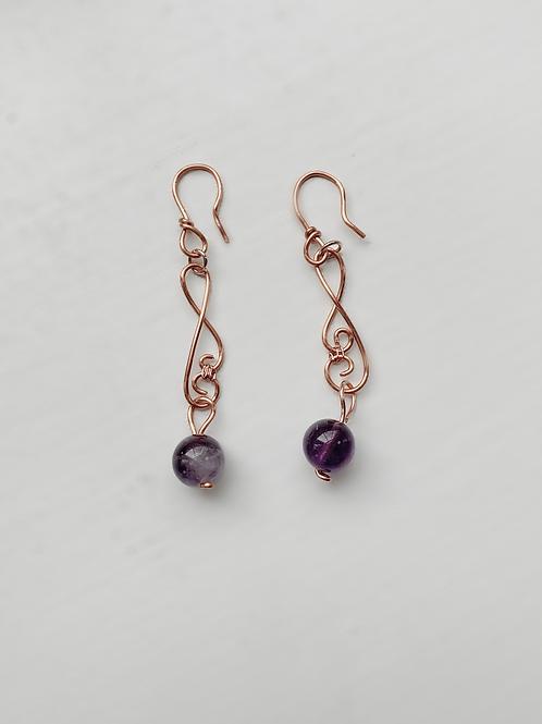 Copper and Purple Dangling Earrings