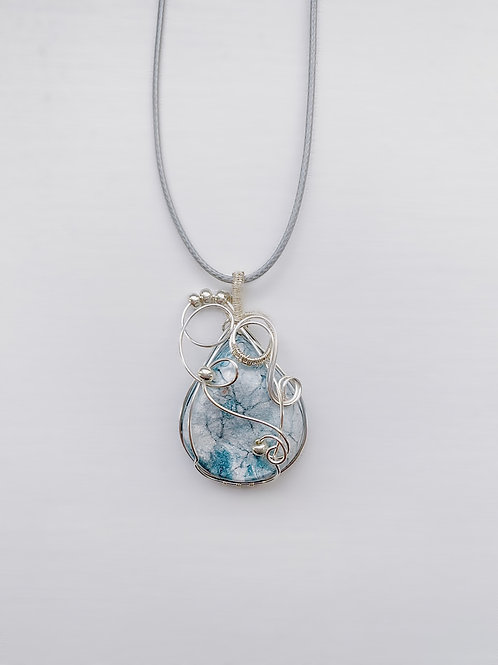 Sky Blue and White Rounded Druzy