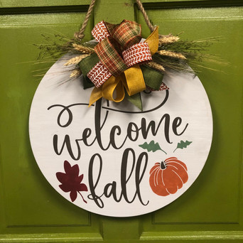 Wood Door Hanger with Florals and Bow