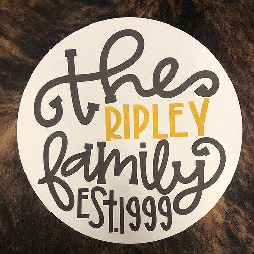 Family Established Door Hanger Round