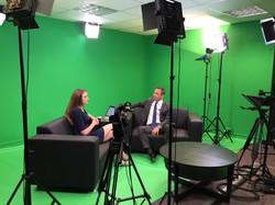 Green screen studio interview