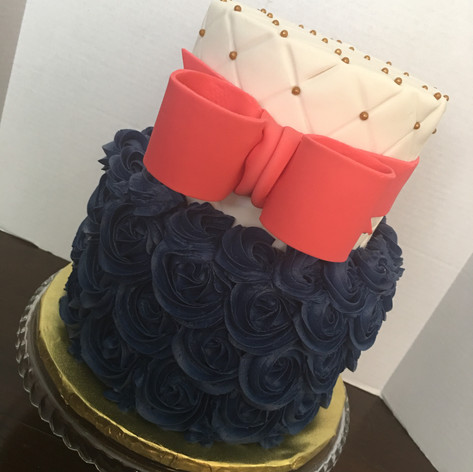 Quilted and Rosettes Baby Shower cake