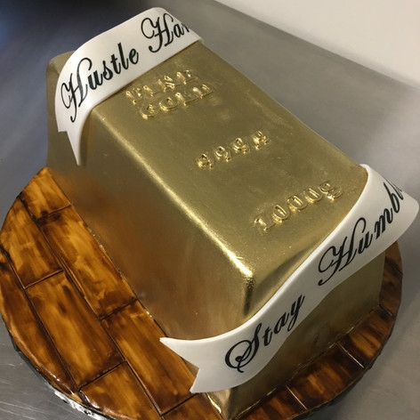 Gold Bar Sculpted cake