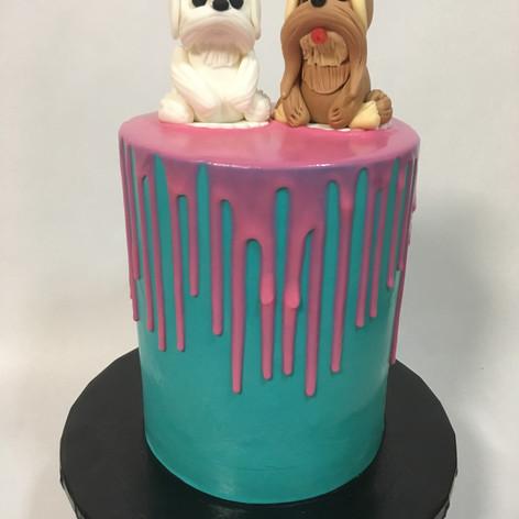 Turquoise Drip birthday cake