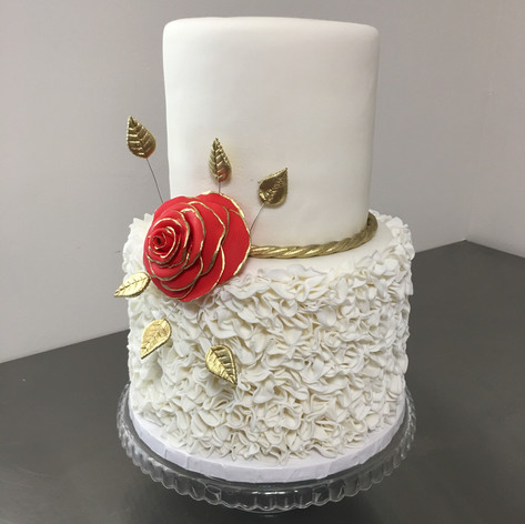 White ruffle fondant cake