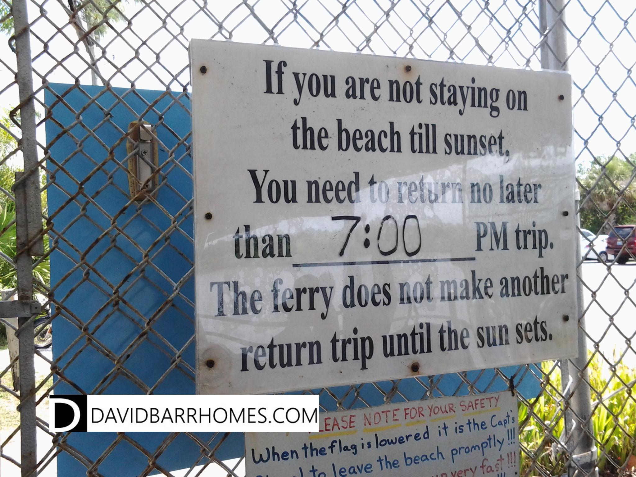 Sign inside South Venice beach ferry