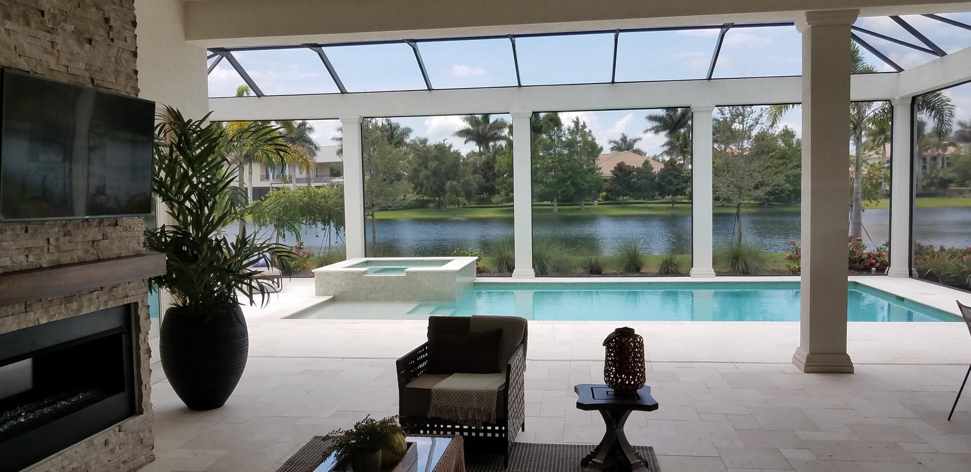 The Lake Club model home pool