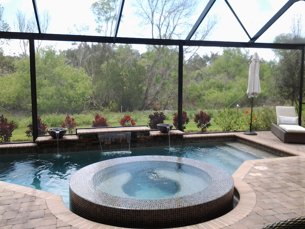 New home with pool and caged lanai