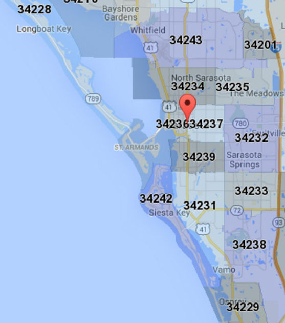 Sarasota Zip Code Map