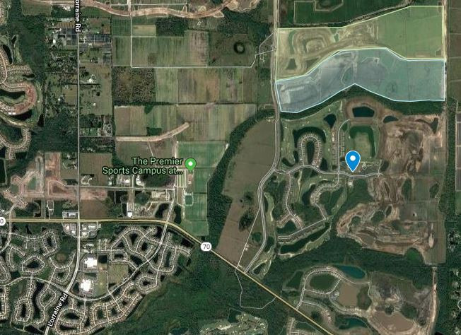 The light blue shaded area on the map is the location for Solera in Lakewood Ranch