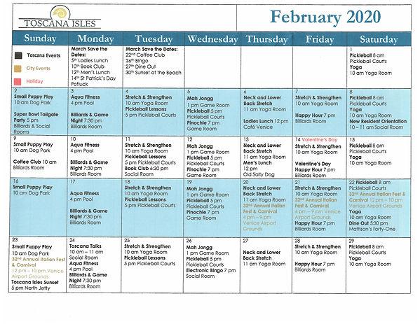 Toscana Isles Venice FL activities calendar