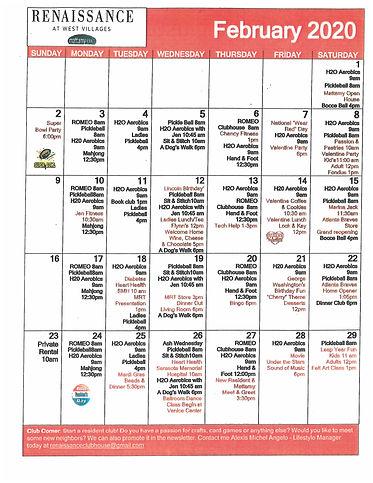 Renaissance at The West Villages activity calendar