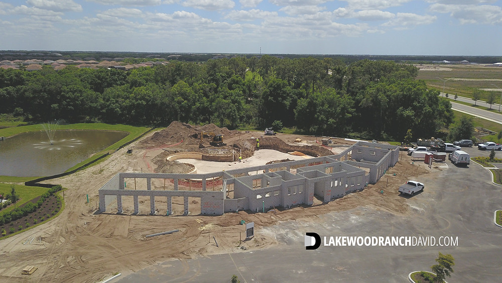 Solera community pool and club house under construction April 2021